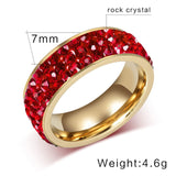 AIDS Awareness Red Crystal Large Stainless Steel Ring