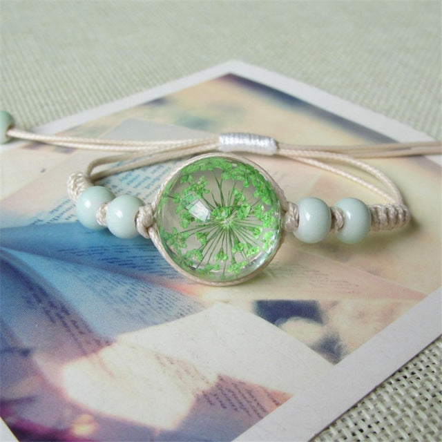 Liver Cancer Awareness Green Cute Flower Bracelet