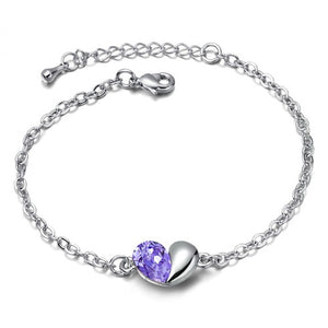 Fibromyalgia Awareness Purple Gem Charm Bracelet