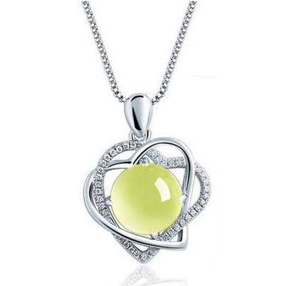 Yellow Opal Heart Necklace