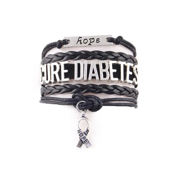 Diabetes Awareness Hope Leather Bracelet