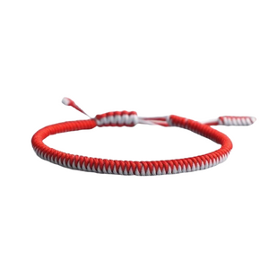 Firefighter Support Red and White Weaved Rope Bracelet
