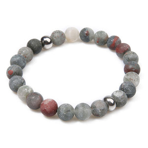 March Bloodstone Bead Bracelet