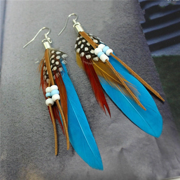 Colorectal Cancer Awareness Feather Earrings