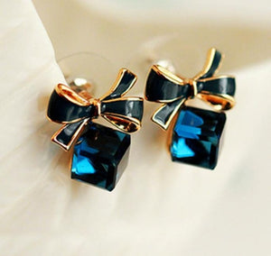 Rhinestone Cube Police Ribbon Earrings