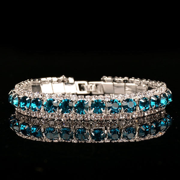 Double Crystal Lines Ovarian Cancer Awareness Bracelet