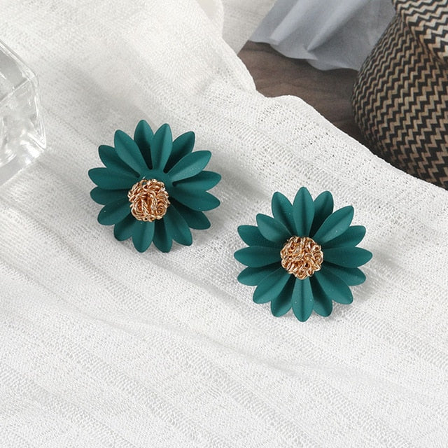 Vulvar Cancer Awareness Teal Daisy Stud Earrings