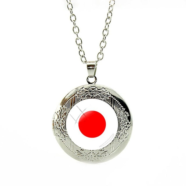 Japan Flag Locket Necklace