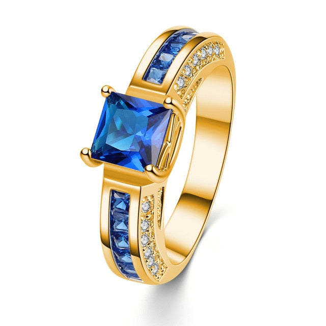 Blue Square Crystal Colon Cancer Awareness Ring