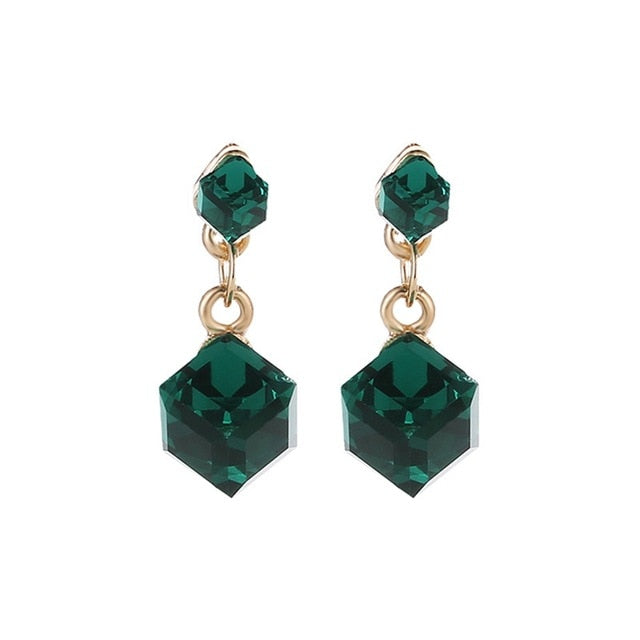 Mental Retardation Awareness Green Rhinestone Dangle Earrings