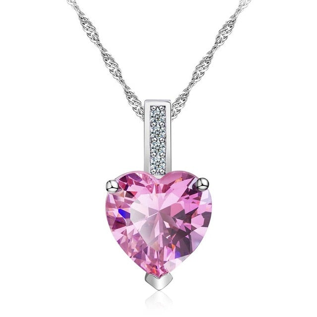 Breast Cancer Awareness Crystal Heart Pendant Necklace