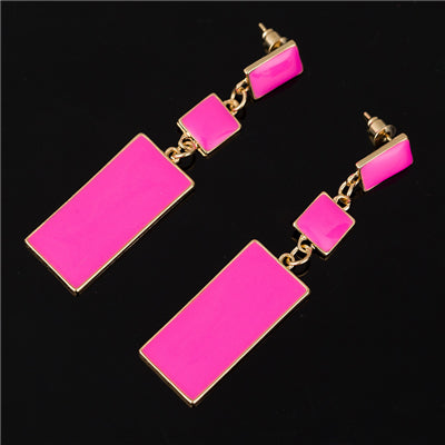 Breast Cancer Pink Support Long Earrings