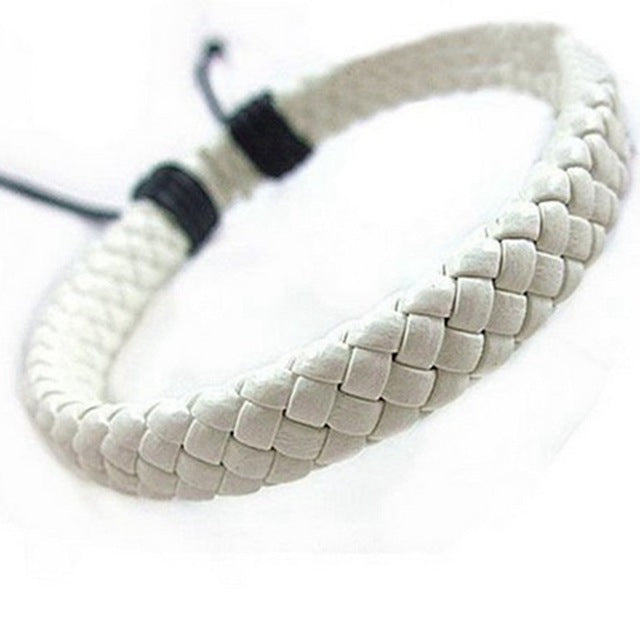 Handmade White Leather Bracelet