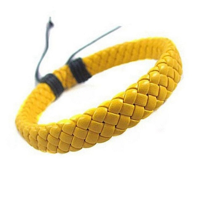 Handmade Yellow Leather Bracelet