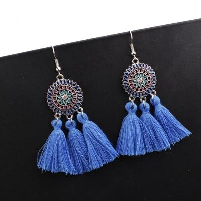 Boho Colorectal Cancer Awareness Tassel Earrings