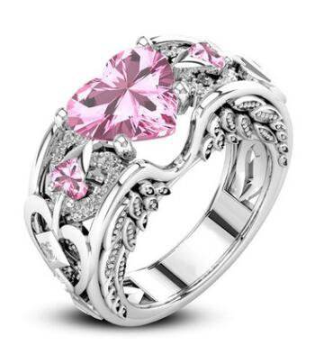 Breast Cancer Awareness Angel Wings Heart Ring