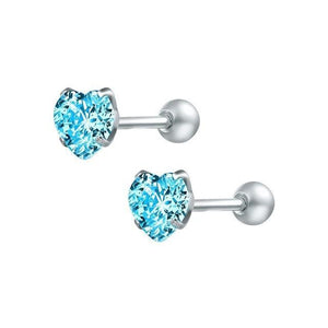 Blue Heart Stainless Steel Earrings