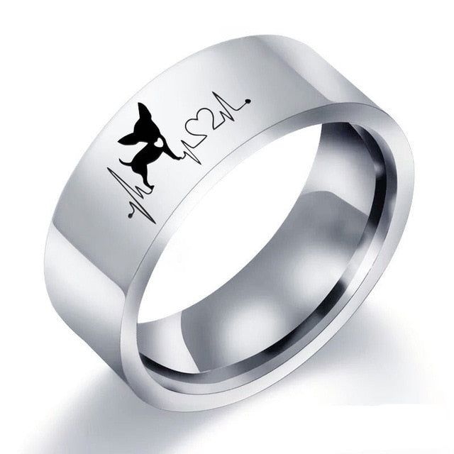 Cute Dog Heartbeat Ring