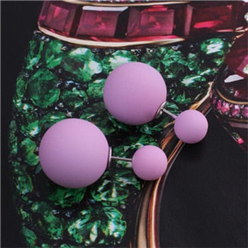 Double Purple Pearl Earrings