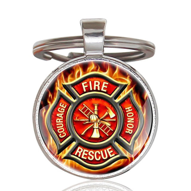 Proud To Be A Firefighter Art Glass Keychain