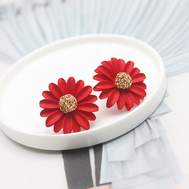 Red Daisy Stud Earrings