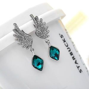 Angel Wings Army Support Crystal Earrings
