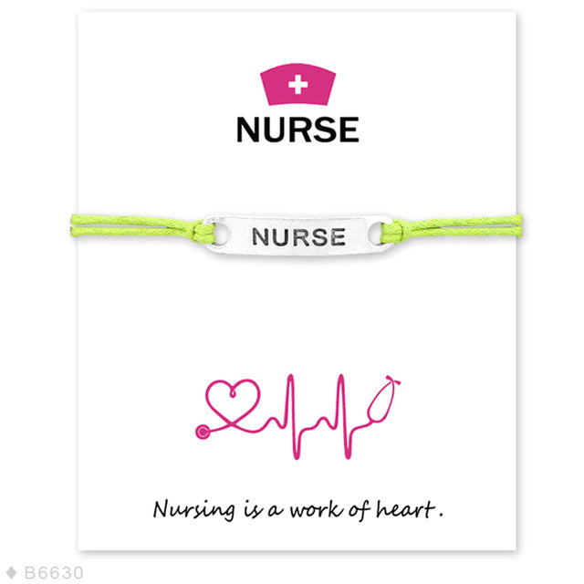 Nurse Support Colored Charm Cord Bracelet