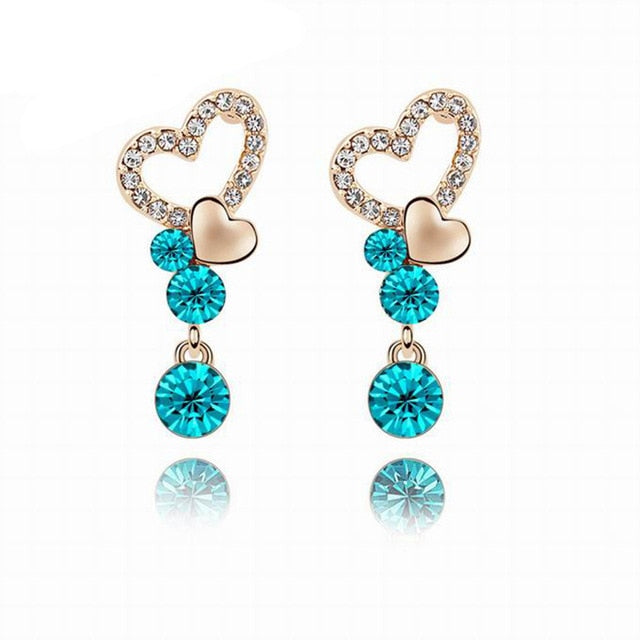 Ovarian Cancer Awareness Gem Studded Heart Earrings