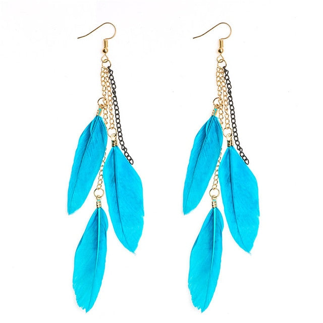 PTSD Awareness Feather Drop Earrings