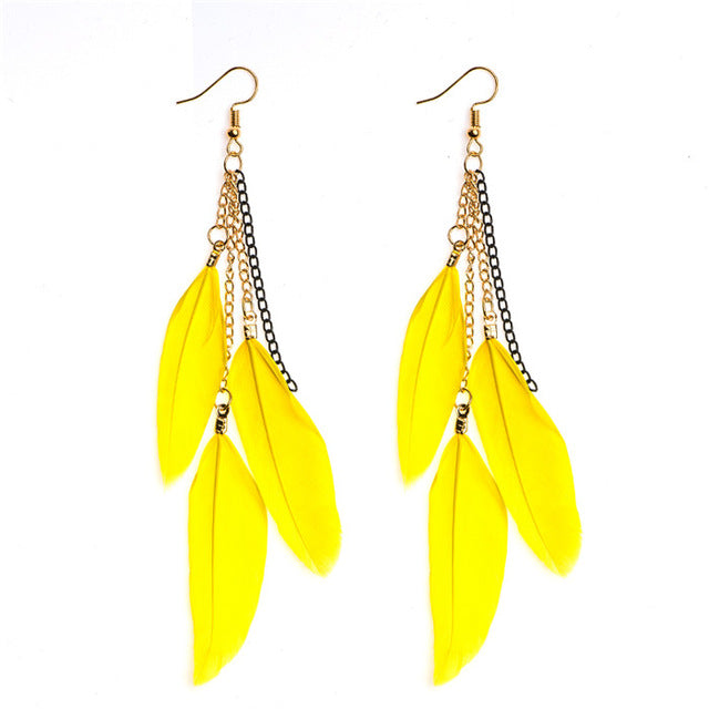 Childhood Cancer Awareness Feather Drop Earrings