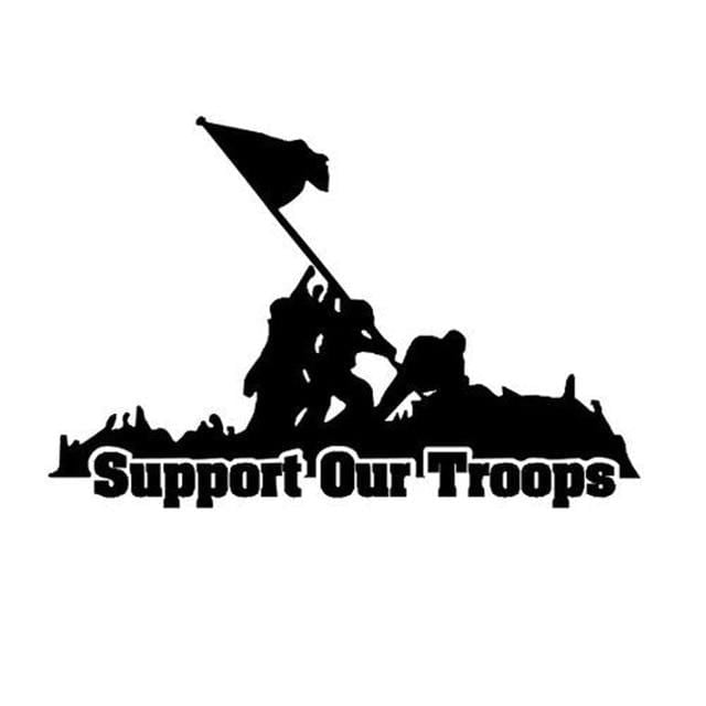 Black & White Support Our Troops Car Decal