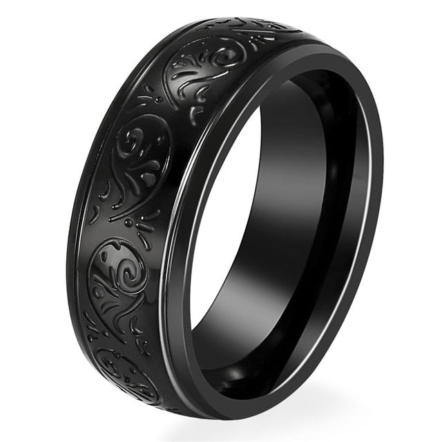 Black Second Amendment Awareness Flower Pattern Ring