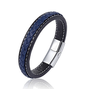 Braided Blue Leather Bracelet
