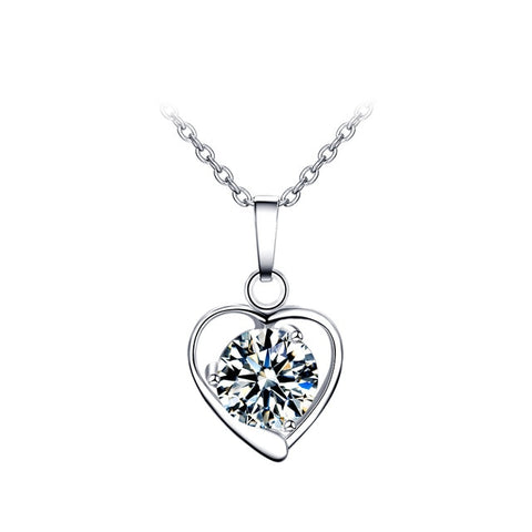 White Crystal EMS Heart Necklace