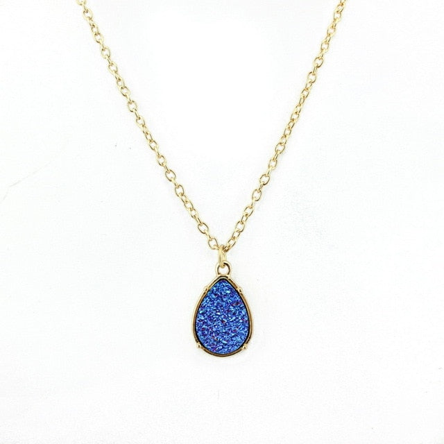 Blue Quartz Colorectal Cancer Support Necklace