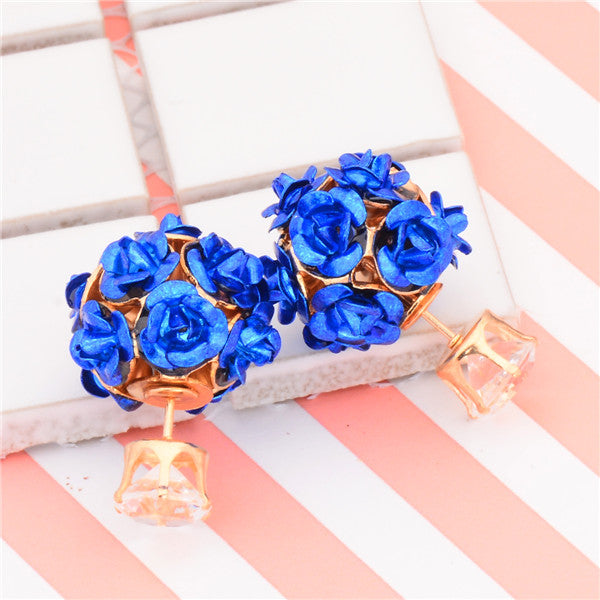 Double Sided Police Support Floral Earrings
