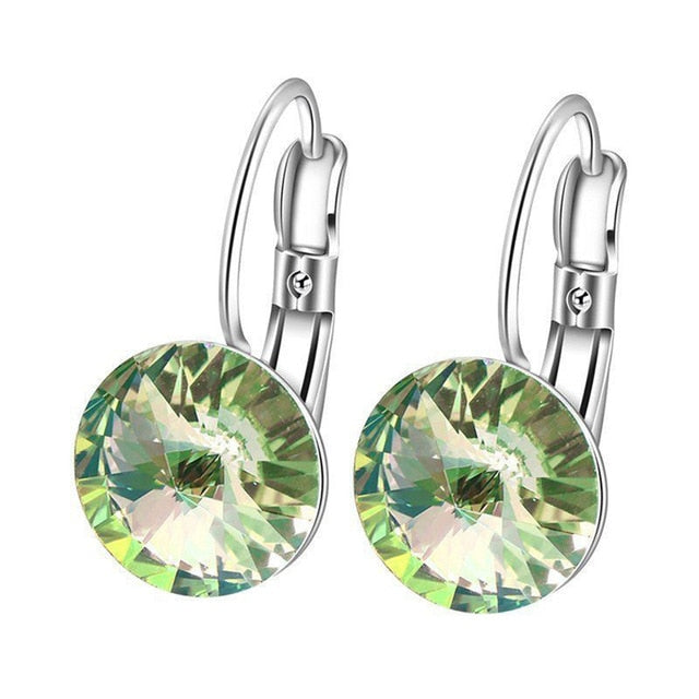 Round Green Crystal Trendy Earrings