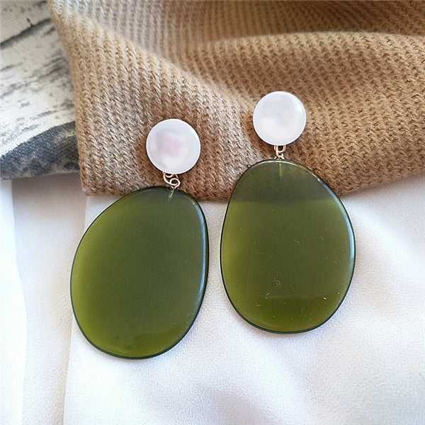 Green Resin Drop Earrings