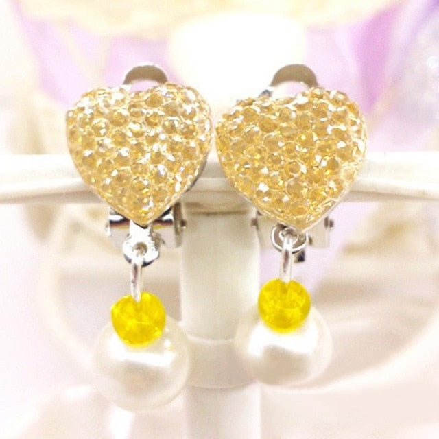 Childhood Cancer Awareness Heart Stone Encrusted Clip Earrings