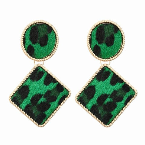 Green Velvet Leopard Army Earrings