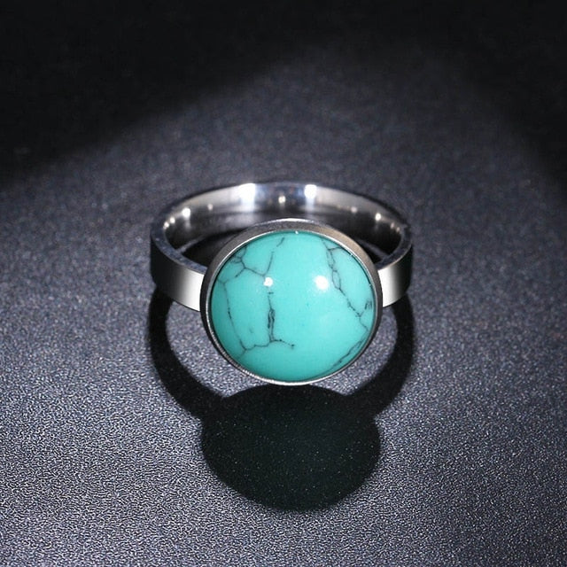 Round Stone Stainless Steel Ring