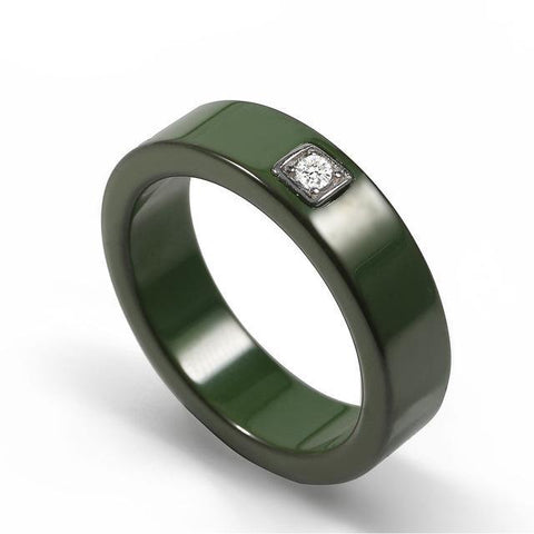 Army Stone Encrusted Ceramic Ring