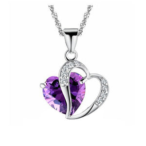 Purple Domestic Violence Awareness Heart Gem Necklace