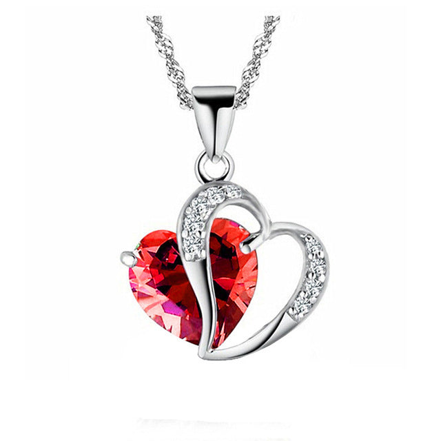 Red Marines Heart Gem Necklace