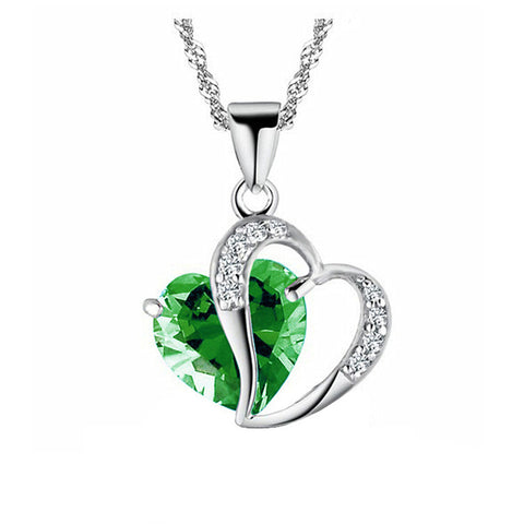 Green Army Heart Gem Necklace