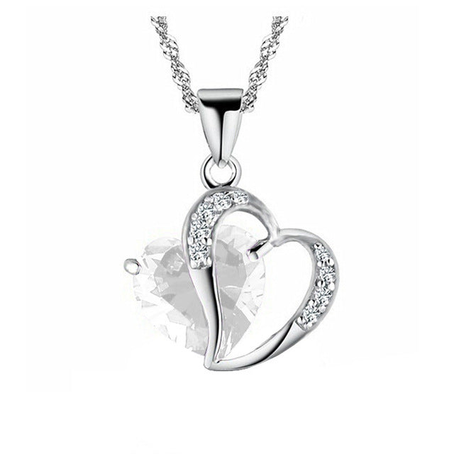 White EMS Support Heart Gem Necklace