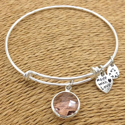 Silver Plated Birthstone Charm Bangle
