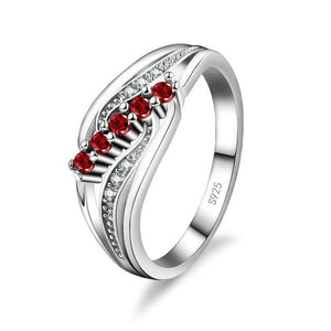 Marine Corps Sterling Silver Red Crystal Gem Ring