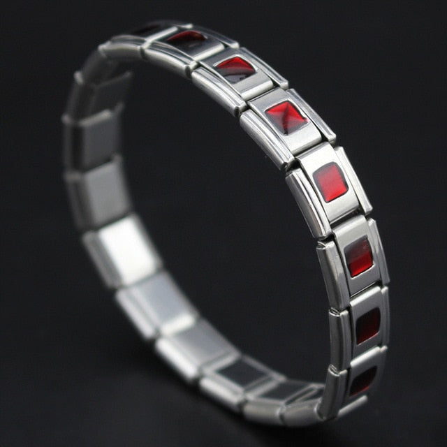 Red Geometric Stainless Steel Bracelet