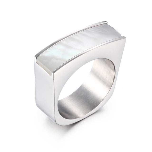 EMS Support White Line Stainless Steel Stone Ring
